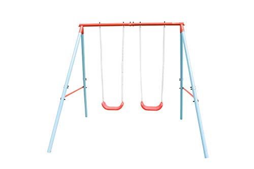 HooKung Swing Set with Two Swing Seats for Kids Play Outdoor Heavy-Duty A-Frame Play Set for Garden