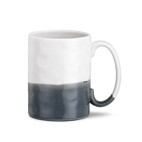 Happy Forever Black and White Stripe 16 Ounce Glossy Stoneware Mug With Handle