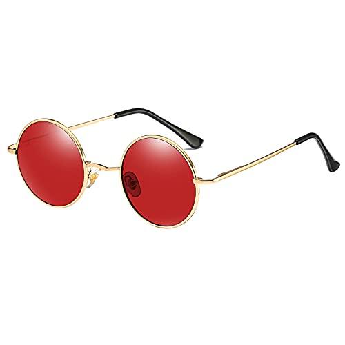 Kennifer Klassische runde polarisierte UV400-Schutz Sonnenbrille mit Vintage-Kreis Metallrahmen Lennon Stil Herren Damen Brille