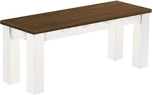 Brasilmöbel Sitzbank 110 cm Rio Classico Nussbaum Weiss Pinie Massivholz Esszimmerbank Küchenbank Holzbank - Größe und Farbe wählbar