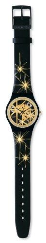 Swatch GZ199S - Reloj analógico de mujer de cuarzo con correa de piel negra - sumergible a 30 metros