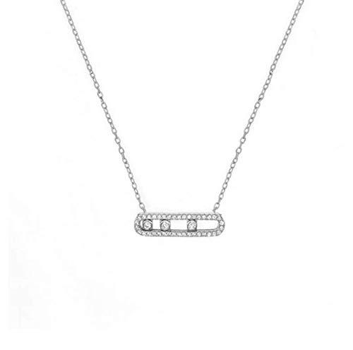 JEFEYI Francia Moda Real 925Collar de Moda de Plata Pulsera con Tres Piedras movidas claras para Mujeres Joyería Collier