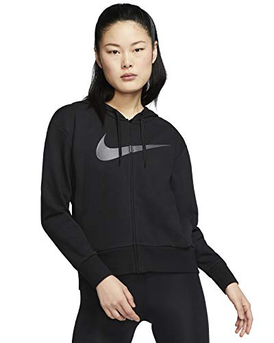 Nike Damen Sweatshirt W NK Dry GET FIT FC FZ H ES GX, Black/(Thunder Grey), XL, CQ9303