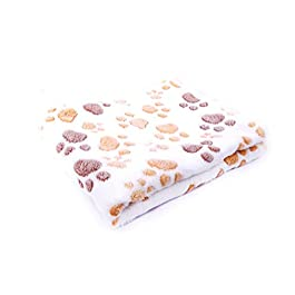 Da.Wa Pet Blanket Soft Fluffy Dog Cat Puppy Paw Print Blanket Mat Sleeping Mat Winter Warm Blanket Washable (Thickening)