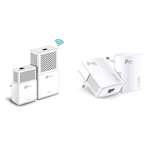 TP-Link TL-WPA7510 Kit Powerline WiFi, AV1000 MBps su Powerline, 750 MBps su WiFi Dual Band & TL-PA7017 Kit Powerline, AV1000 Mbps su Powerline, 1 Porta Gigabit, Plug and Play, Consumo massimo 2.7W