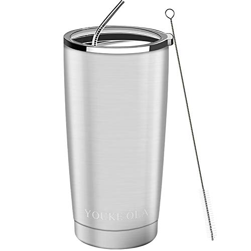 Stainless Steel Tumbler 20oz - Vacuum Insulated Tumbler Coffee Cup Double Wall Large Travel Mug with...