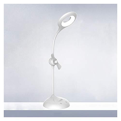 Lámpara de Mesa Lámpara de escritorio LED con carga de ventilador / lámpara de mesa de control táctil de enchufe con 3 niveles de atenuación Lámpara de estudio flexible para dormitorio universitario,