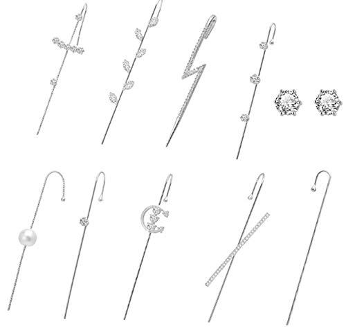 Pendientes de gancho de oruga de 11 piezas para mujer, pendientes únicos, pendientes largos de gancho de oruga, conjunto de pendientes de oruga, joyería de diamantes de imitación (plata)