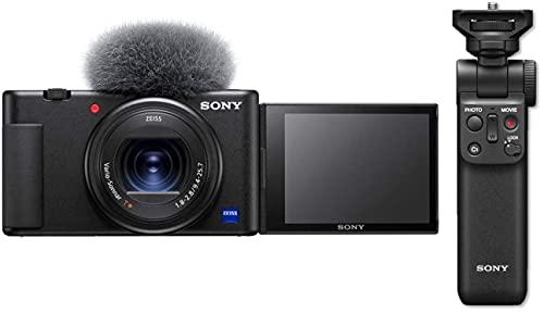 Sony ZV1BDI.EU - Cámara vlogging (Eye AF con Seguimiento a Tiempo Real, detección de Fases, Video 4K, Filtro Piel Suave, Micro direccional) Negro + Sony GP-VPT2BT - Estabilizador para cámaras