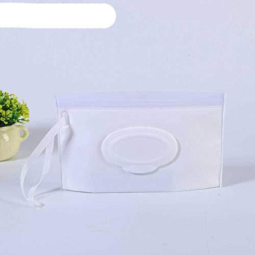 OBOYGANGNQE Caja de toallitas húmedas portátiles para bebés Contenedor de toallitas Ecológico Fácil de Transportar Concha de almeja Estuches de toallitas de Limpieza cosmética-Blanco Puro