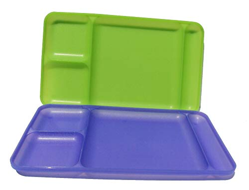 Tupperware Divided Dining TV Trays Picnic Kids Lunch Plates Set of 2 Sheer Purple and Green
