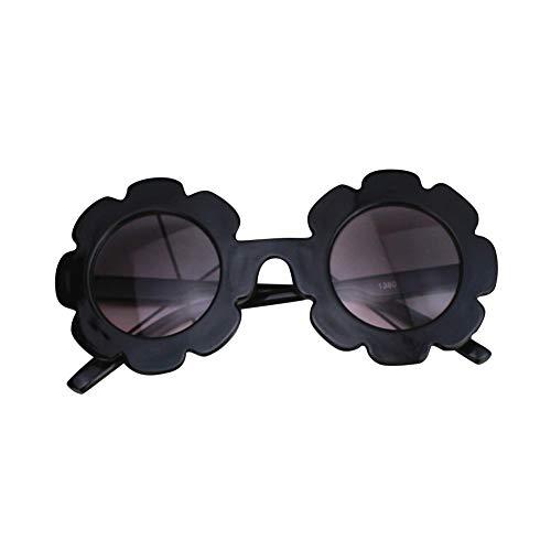 Uticon Gafas de sol para niños, diseño de flores redondas lindas gafas de protección UV400 gafas de sol de fiesta juguetes regalos para niñas niño negro