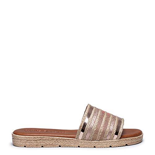 Zapatos miMaO. Zapatos de Piel de Mujer Hechos EN ESPAÑA. Sandalia Plana Cómoda. Sandalia Plana Plantilla Acolchada Ultra Confort Gel