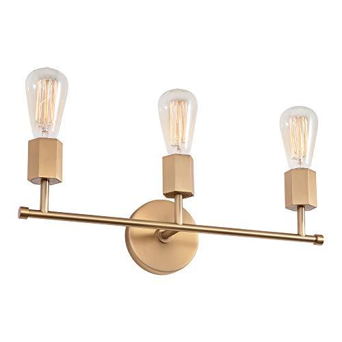 Linour Aplique de pared para baño Estilo vintage Metal Luz de viento industrial Cobre sobre espejo Aplique de pared para baño Pasillo...