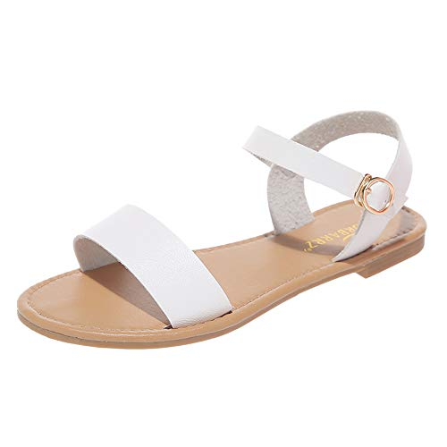 Aniywn Open Toe Casual Ankle Strap Sandals Women's Summer Low Heel Non-Slip Flat Open Toe Sandals Shoes White