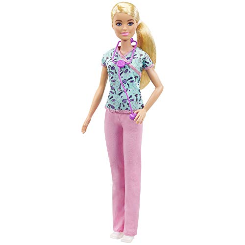 Barbie Nurse Blonde Doll (12-In/30.40-cm) with Scrubs Featuring A Medical Tool Print Top & Pink Pants, White Shoes & Stethoscopeaccessory, Great Gift for Ages 3 Years Old & Up