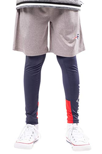 Ultra Game NFL New England Patriots Youth 2 Piece Leggings & Shorts Training Compression Set, Team Color, 10/12