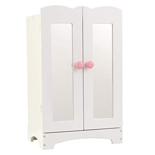 KidKraft-Lil' Doll Armoire Armario de madera blanca con perchas, accesorio para muebles de dormitorio para muñecas de 45 cm (60132)