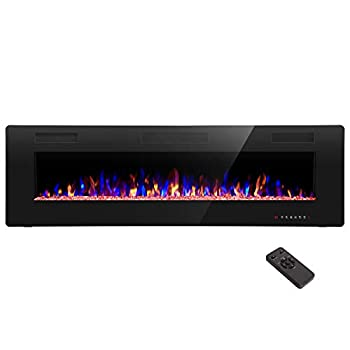 R.W.FLAME 60 inch Recessed and Wall Mounted Electric Fireplace  Ultra Thin and Low Noise,Fit for 2 x 6 Stud Remote Control with Timer,Touch Screen,Adjustable Flame Color and Speed