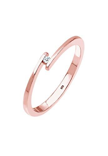 DIAMORE Ring Damen Verlobungsring mit Diamant (0.02 ct.) in 925 Sterling Silber