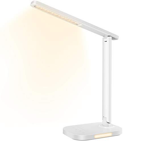 Lampada da Tavolo, Lampada da Scrivania con Luce Notturna, 10 Luminosità & 5 Temperature di Colore Lampada da Lavoro con Porta di Ricarica USB, Timer di 1 Ora per Lettura, Lavoro, Studio