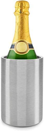 Dimono, secchiello raffreddante a doppia parete, per vino e bevande, in acciaio inox spazzolato opaco; per vino, spumante, Champagne, bevande fredde