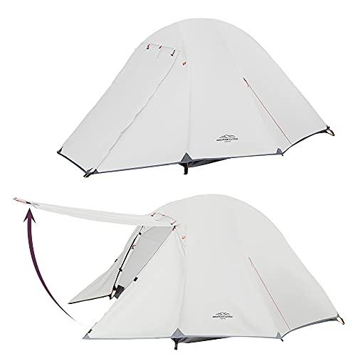 テント 2人用 アウトドア 前室 タープスペース付き二層構造 コンパクト アウトドア 組立簡単 自立式 超軽量 4シーズン プロフェッショナルテント 防風防水 PU3000/4000 (グレー)