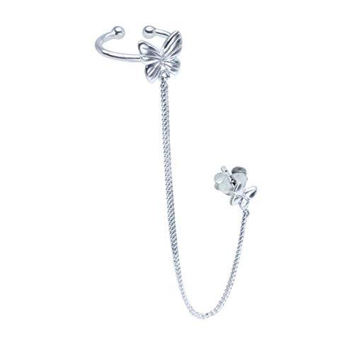 FIVE-D Ohrringe Ohrklemme mit Kette Schmetterling 925 Sterling Silber im Schmucketui (Silber-Links)