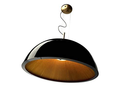 La Creu 00-2727-AP-05 - Lámpara de techo con pantalla interior plegada de color dorado, 3 bombillas de 11 W, 60 x 30 cm, color negro brillante