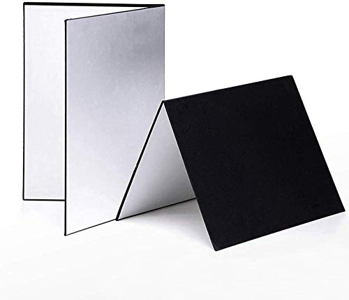 Meking 3 in 1 Photography Reflector Cardboard 17 x 12 inch Folding Light Diffuser Board for Still Life Product and Food Photo Shooting  Black Silver and White 2 Pack