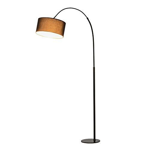 HOMCOM Stehleuchte mit 180° flexiblem Lampenschirm und verstellbarem Mast, mit rundem Metallsockel, Schlafsaal, Schwarz, Metall, Polyestergewebe, 97L x 33,5B x 179H cm