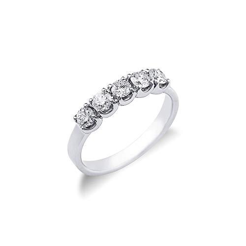 Gioielli di Valenza - Anello Veretta a 5 pietre in Oro bianco 18k con diamanti ct. 0,60 - FE501060BB - 11