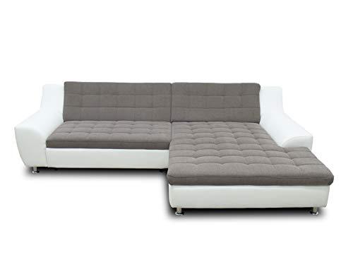 DOMO collection Morton Ecksofa | Sofa mit Schlaffunktion in L-Form, Eckcouch mit Bett, braun/weiß, 304x200x84 cm