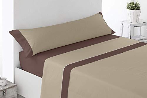 DESING.Textil-HOGAR (12,99€ Juego sabanas Microfibra MARRÓN 3 Piezas) ALHAMA (Marron, 105X190-200CM)