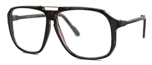 amashades Vintage Nerdies oversized Nerd Brille 70er 80er Jahre Streberbrille Retro Kassengestell Damen Herren WY (braun)