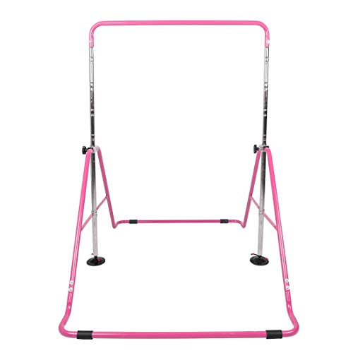 Hyner Faltbare Teleskop-Gymnastikstange Höhenverstellbar Gymnastik Horizontal Bar Fitness Kletterturm Home Gym für Kinder, rose