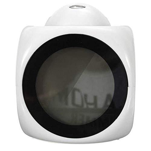 BECCYYLY Reloj de la Noche, Reloj de Alarma Digital de Alarma Ajustable Reloj de Alarma de proyección con Temperatura de Voz F/C conmutación - Blanco, Simple (Color: Blanco) wmpa (Color : White)