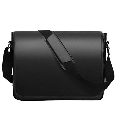 Leathario Men's Leather Shoulder Bag 14inch Laptop Bag Messenger Bag Crossbody Bag Satchel Bag Black