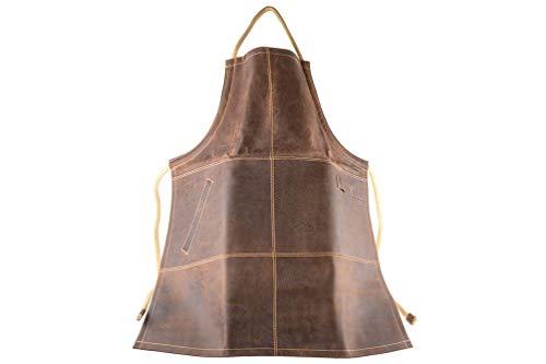Alpenleder® Grillschürze FUNKENFEUER - Stilvolle Grillschürze aus feuerfestem Büffelleder - TÜV geprüft nach ISO 11612 - Größenverstellbar und mit einer Tasche und 2 Laschen für Grillzubehör (Koffee)