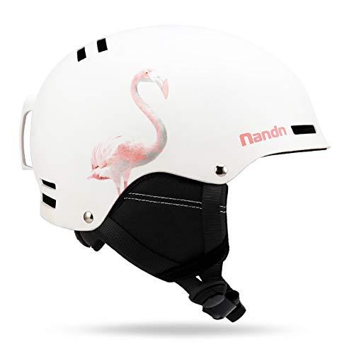 LALEO Flamingo Einhorn Winter Skihelm für Erwachsenes, Atmungsaktiv Einstellbar Futter Race Edition Ski Snowboard Zubehör Snowboardhelm, Weiß, Pink,Flamingo,M