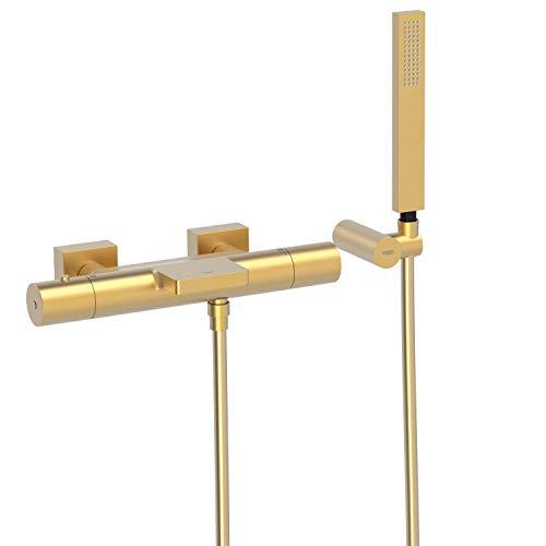 PROJECT-TRES Bañera-ducha termostática con cascada. Ducha de mano anticalcárea con soporte orientable y flexo SATIN. Inversor integrado en el regulador de caudal.