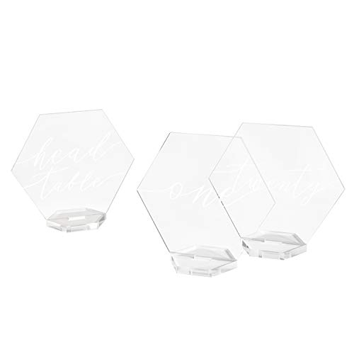Ling's moment Acrylic Table Numbers for Wedding Clear Table Numbers Hexagon 1-20 Calligraphy with Acrylic Holders 5x5.7inch