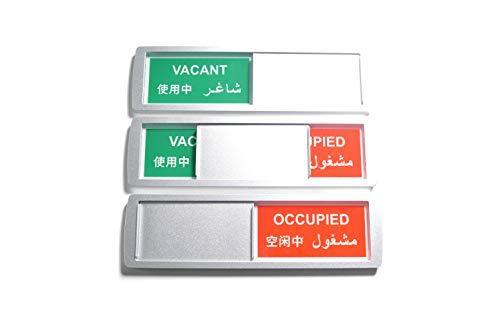 SynMe Grande Letrero deslizantes Libre/Ocupado (Inglés, Chino, árabe) 17.5x5cm - Letrero con función Deslizante para indicar el Estado de una habitación - Adhesivo Marca 3M (10)
