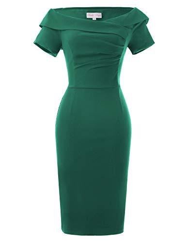 Belle Poque 50er Jahre Kleid grün Rockabilly Kleid Vintage Etuikleid Casual Kleid Größe 32 BP158-4