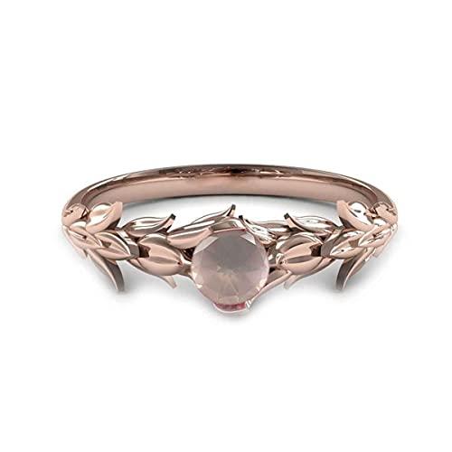 55Carat Anillo de compromiso chapado en oro rosa de 18 quilates, cuarzo rosa natural, piedra natal de junio, joyería para mujer, talla R
