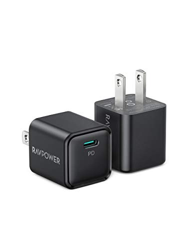 USB C Charger, RAVPower 2-Pack 20W iPhone Fast Charger Type C Wall Charging Adapter, PD QC 3.0 PPS Durable Compact for iPhone 12 Pro Max Mini 11 iPad Pro Samsung Galaxy S20 Pixel Switch AirPods LG