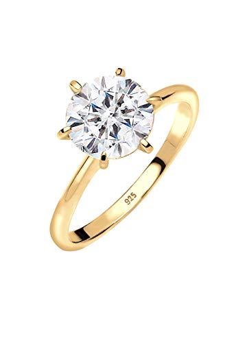 Elli Ring Damen Verlobungsring mit Swarovski Kristallen in 925 Sterling Silber