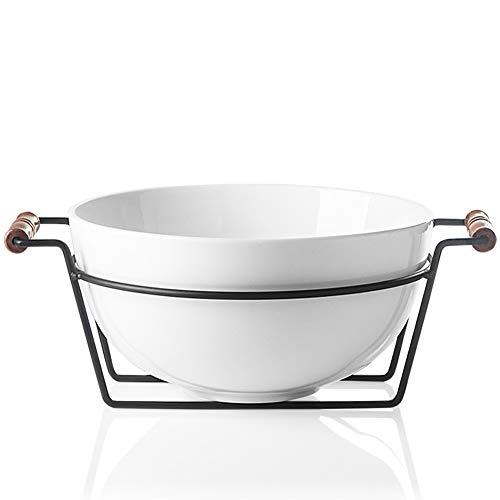 SWEEJAR - Cuenco grande para servir (3,7 cuartos de galón, para ensalada de palomitas de maíz, tazón de mezcla de 14 onzas con un soporte para fiesta familiar (blanco)