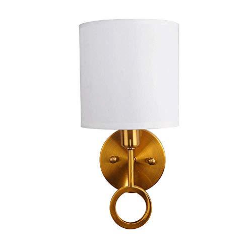 Apliques de metal para lámpara de pared, luces de pared doradas nórdicas posmodernas con pantalla de tela, accesorio de iluminación para decoración del hogar interior para hotel, sala de estar