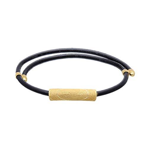 PRIMAGOLD(プリマゴールド) 純金 メンズ ヘッド ブレスレット(ブラックコード) K24 24金ジュエリー
